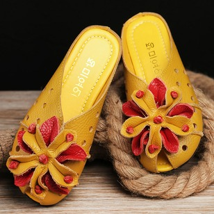 Flower Velcro Slippers Real Leather Flat Heel Shoes