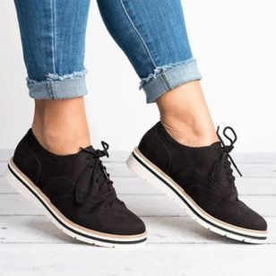 Women's Lace-up Round Toe Fabric Flat Heel Sneakers (100002048)