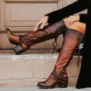 Women's Zipper Lace-up Knee High Boots Round Toe Heels Chunky Heel Boots (104534843)