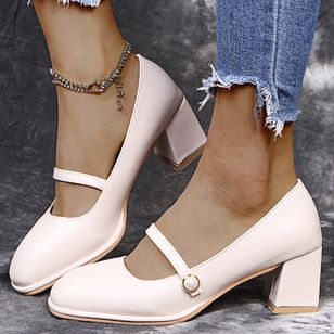 Women's Buckle Closed Toe Square Toe Chunky Heel Pumps (122028722)