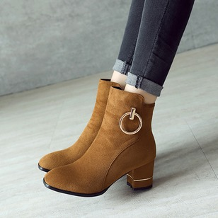 Zipper Ankle Boots Suede Chunky Heel Shoes