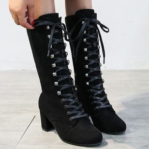 Women's Lace-up Mid-Calf Boots Closed Toe Nubuck Chunky Heel Boots (146884419)