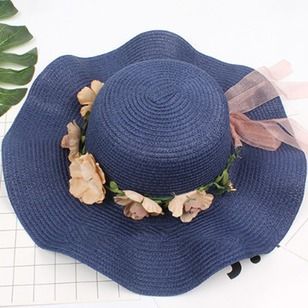 Straw Flowers Solid Hats