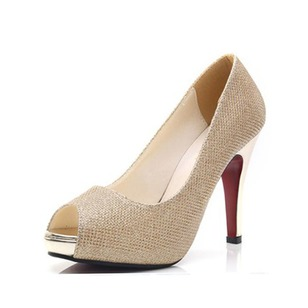 Peep Toe Heels Sparkling Glitter Stiletto Heel Shoes