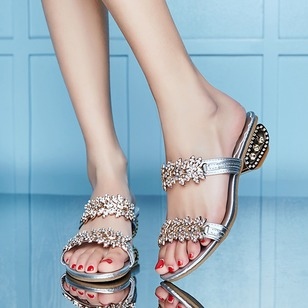 Sparkling Glitter Sandals PU Low Heel Shoes