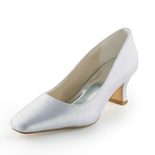 Women's Wedding Shoes Pumps Closed Toe Low Heel Satin Shoes