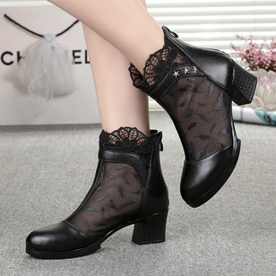 Stitching Lace Ankle Boots Real Leather Chunky Heel Shoes