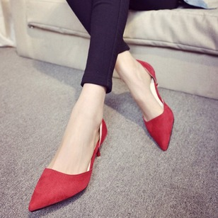 Pointed Toe Nubuck Stiletto Heel Shoes