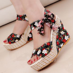 Women's Lace-up Flower Slingbacks Cloth Wedge Heel Sandals (1525960)