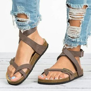 Women's Buckle Toe Ring Flat Heel Sandals (2201129)