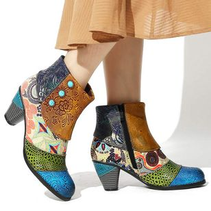 Women's Zipper Flower Ankle Boots Closed Toe Cone Heel Boots (108089205)