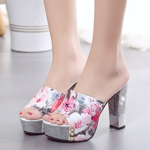 Imitation Pearl Flower Jewelry Heel Split Joint Peep Toe PU Chunky Heel Shoes