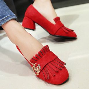 Tassel Closed Toe Chunky Heel Shoes