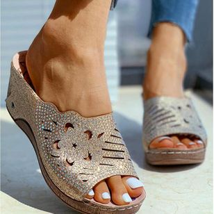 Women's Rhinestone Heels Lace Wedge Heel Wedges Slippers (4347855)