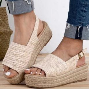Women's Buckle Slingbacks Linen Wedge Heel Sandals (4044814)