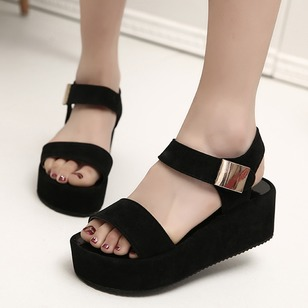 Buckle Platform PU Wedge Heel Shoes