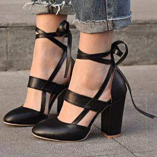 Women's Lace-up Closed Toe Pointed Toe Heels Chunky Heel Sandals (102931363)