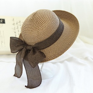 Straw Bow Hollow Out Solid Hats