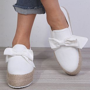 Women's Bowknot Closed Toe Cloth Flat Heel Platforms (147104589)