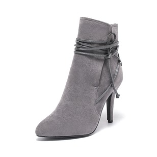 Lace-up Ankle Boots Suede Stiletto Heel Shoes