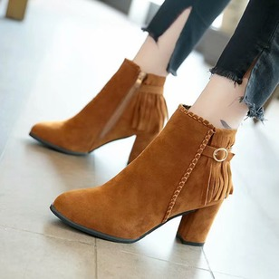 Buckle Tassel Ankle Boots Nubuck Chunky Heel Shoes