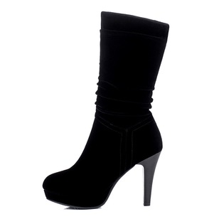 Women's Boots Platform Mid-Calf Boots Stiletto Heel Suede Shoes