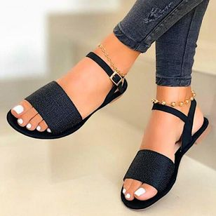 Women's Buckle Flats Flat Heel Sandals (4663335)