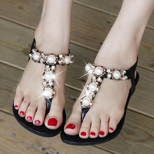 Rhinestone Imitation Pearl T-Strap Pumps PU Flat Heel Shoes