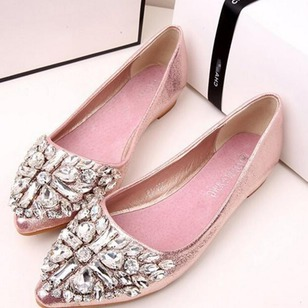 Crystal Pointed Toe Flat Heel Shoes