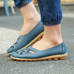 Hollow-out Others Flats Real Leather Low Heel Shoes