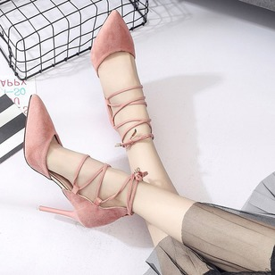 Lace-up Heels PU Stiletto Heel Shoes