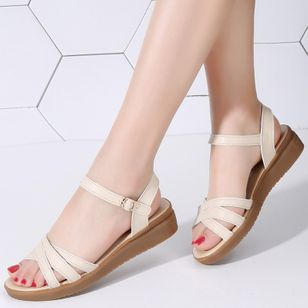 Women's Buckle Slingbacks Wedge Heel Sandals (2201203)