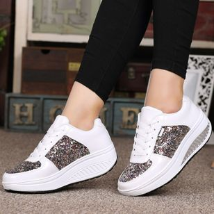 Women's Sequin Lace-up Closed Toe Wedge Heel Sneakers (2200204)