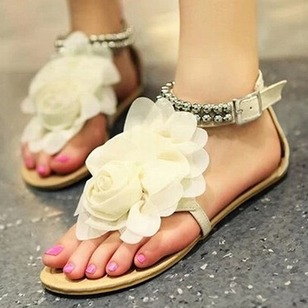 Flower Sandals PU Flat Heel Shoes