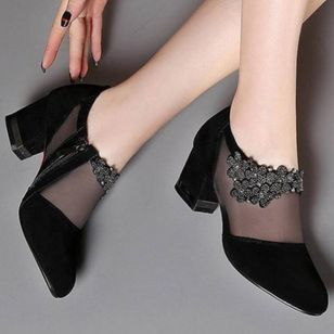 Women's Zipper Closed Toe Fabric Chunky Heel Pumps (2201110)