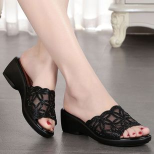 Women's Hollow-out Heels Lace Wedge Heel Slippers (1332718)
