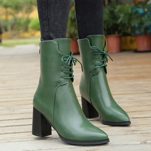 Zipper Lace-up Mid-Calf Boots PU Chunky Heel Shoes