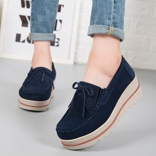 Women's Lace-up Closed Toe Fabric Flat Heel Wedges (1240314)