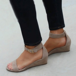Buckle Wedges Suede Wedge Heel Shoes
