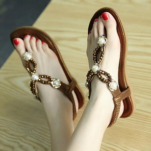 Imitation Pearl Sandals PU Flat Heel Shoes