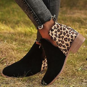 Women's Leopard Ankle Boots Closed Toe Cloth Chunky Heel Boots (107151462)
