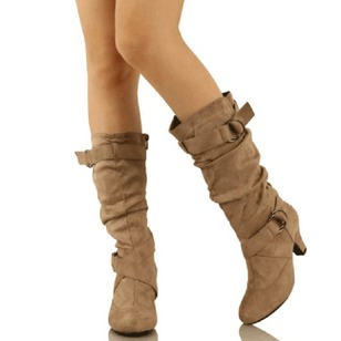 Buckle Mid-Calf Boots Cone Heel Shoes