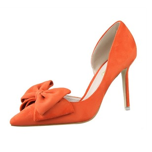 Bowknot Heels Suede Stiletto Heel Shoes