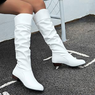 Women's Knee High Boots Closed Toe Low Heel Boots (107519943)