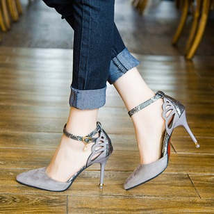 Hollow-out Ankle Strap Heels PU Stiletto Heel Shoes