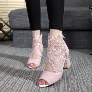 Stitching Lace Peep Toe Real Leather Chunky Heel Shoes