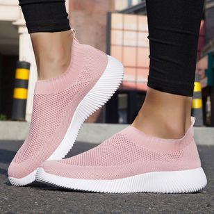Women's Mesh Round Toe Fabric Flat Heel Sneakers (100447397)