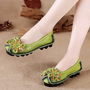 Flower Closed Toe Real Leather Low Heel Shoes