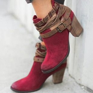 Buckle Closed Toe Nubuck Chunky Heel Shoes