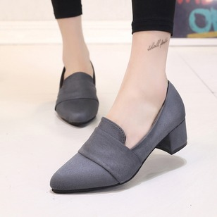 Pointed Toe Chunky Heel Shoes